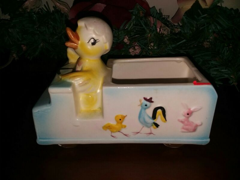 Vintage Inarco Easter Chick Egg Driving Bus Planter Candy Dish #E-1528 Japan