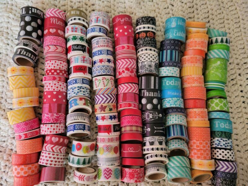 Lot of 150 Rolls of Washi Tape Scrapbooking  Crafts Words Holiday Designs