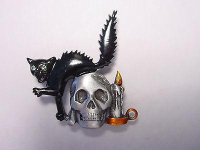 Jj  Jonette Jewelry Silver Pewter Black Cat   Skull Halloween Pin