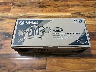 Lithonia Lighting Led Exit Sign With Emergency Lights - White With Red Letters