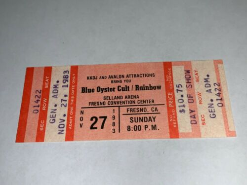 BLUE OYSTER CULT RAINBOW UNUSED 1983 TICKET Ritchie Blackmore Roger Glover Dio r