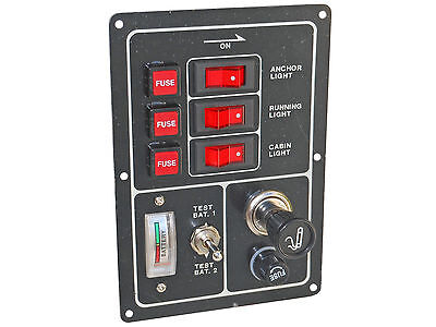 3 toggle panel, lit, with pop out fuses, meter,12V plug