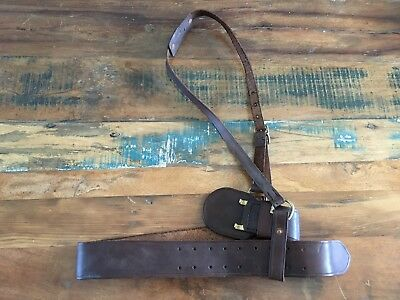 Sweet Vintage Brown Leather Sam Brown Style Belt Police Military