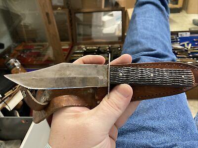 CATTARUGUS SLAB SIDE FIX BLADE POCKET KNIFE USED