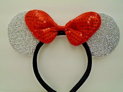 MINNIE MOUSE EARS Headband Silver Sparkle Shimmer - Red Sequin Bow - Mickey Mouse Ears Hat