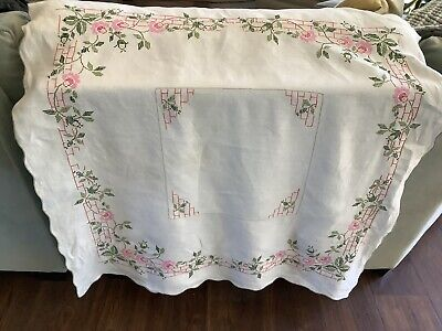 vintage tablecloths 1950's White Embrod. Green Pink Flowers Cotton Linen