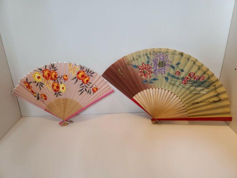 2 Vintage Japanese Paper Fans Lot 2