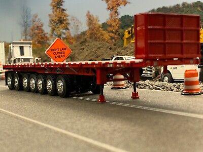 1/64 DCP RED 53' WILSON ROAD BRUTE 7 AXLE FLATBED TRAILER W/ BULKHEAD 4