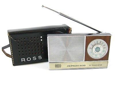 Ross Radio AM Police Band 10 Transistor AM/FM & Original Case Vintage Works