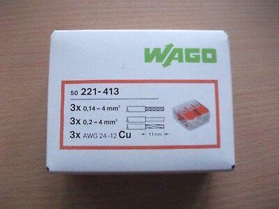 50 Stück Wago-Klemmen 221-413 für 3x 0,2-4mm², NEU in OVP