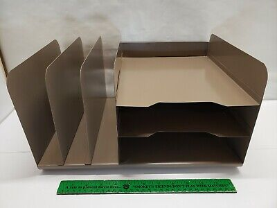 Vintage Steelmaster Office Desk Tier Letter Tray Paper Organizer Industrial Slot