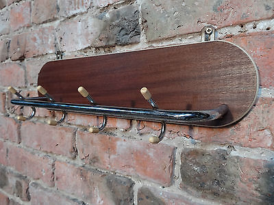 1960s RETRO SMALL TEAK VINTAGE / CHROME RAILWAY RACK  (E9)