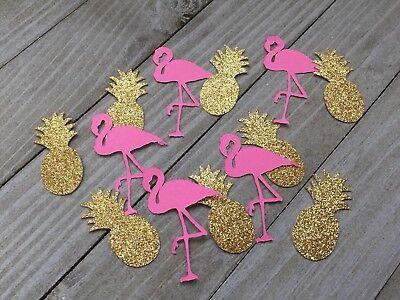 100 Gold Glitter Pineapples And Pink Flamingo Confetti, Bachelorette Decor
