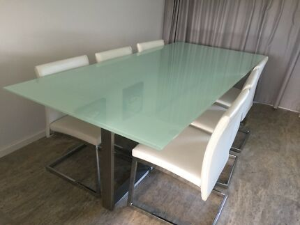 Glass Dining Table Floating And 6 Chairs Custom Made