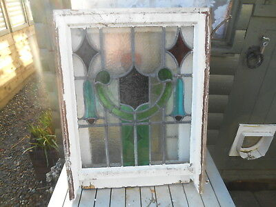Art Nouveau Single Stained Glass Sash Window Panel Interior Design Restoration
