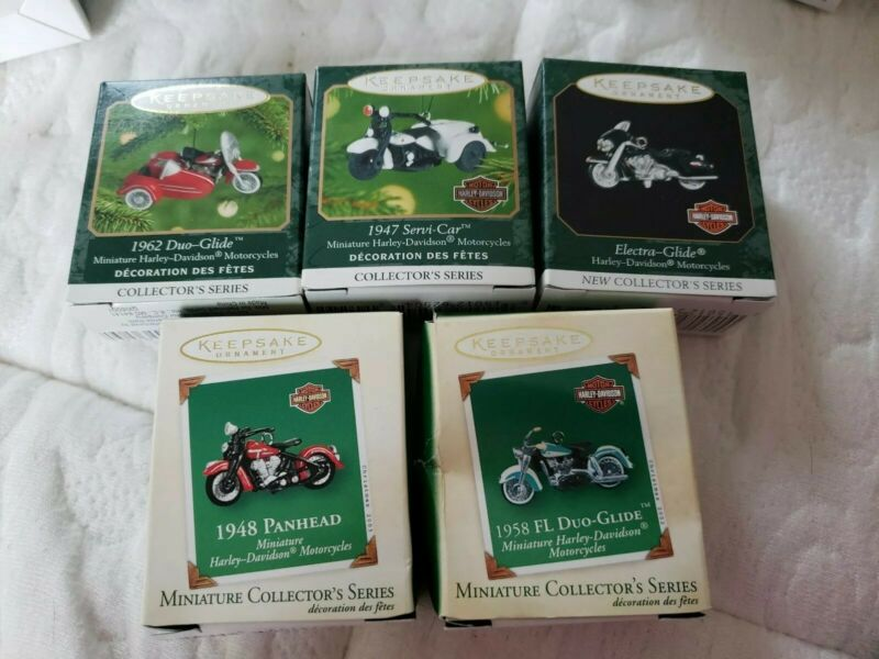 Hallmark keepsake  Miniature Harley Davidson Ornaments Set of 5