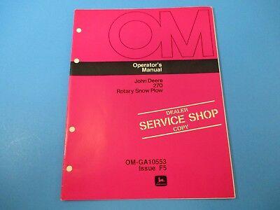 John Deere Operators Manual Om-ga10553 270 Rotary Snow Plow Issue F5 M5002