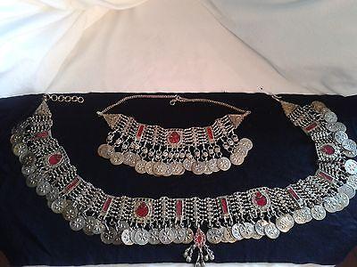Belly Dance Vintage Kuchi Tribal Jewelry Belt and Necklace Set