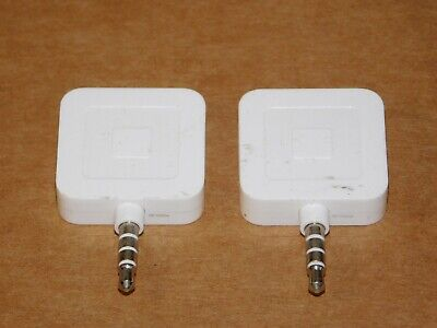 Pair 2 Square Credit Debit Card Reader White For Apple Iphone Android Cell Phone