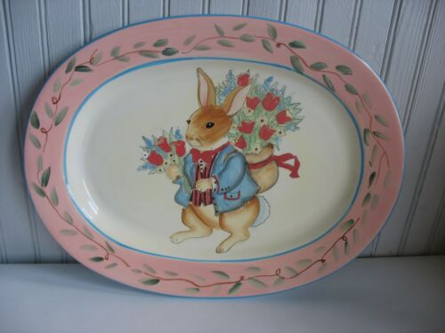 """16 1/2"""" Bunny Rabbit Platter Tray Plate by Susan Winget Easter Spring Holiday"""