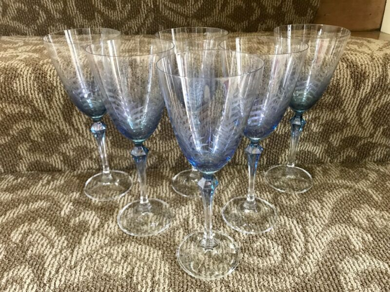 Set Of 6 Blue Fern Etched Wine Glasses