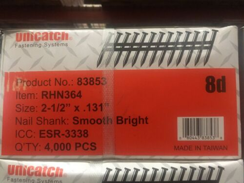 "2-1/2"" x .131 SMOOTH BRIGHT 21` Framing Nails 4000/Case Hitachi,DeWalt,Senco"