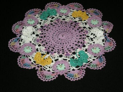 New Hand Crocheted Doily Flowers/Butterflies