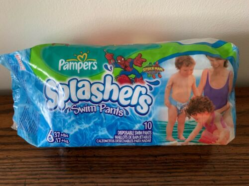 PAMPERS SPLASHERS SWIM PANTS SIZE 6 NIP 37+ LBS SPIDER-MAN 10 DISPOSABLE DIAPERS