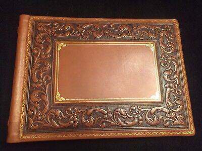 Ultra Luxury Bontruper Scroll Carved Genuine Leather Scrapbook Photo Album Gift