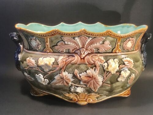 Antique Majolica Large Jardiniere Planter from Onnaing c.1800