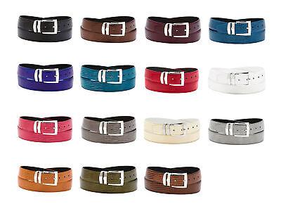 Men's Bonded Leather Belt in Solid Colors LIZARD Skin Pattern Silver-Tone (Square Buckle Belt)