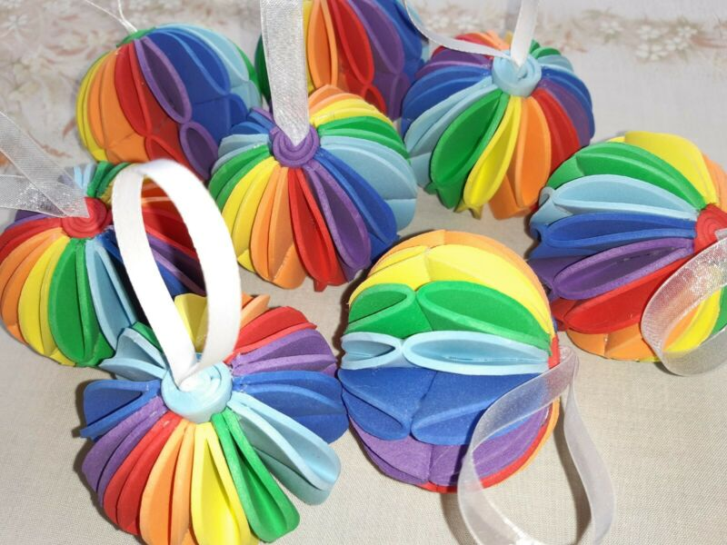 4+x+Rainbow+Hanging+Indoor+christmas+tree+Decoration+Bauble+pride+gift+handmade