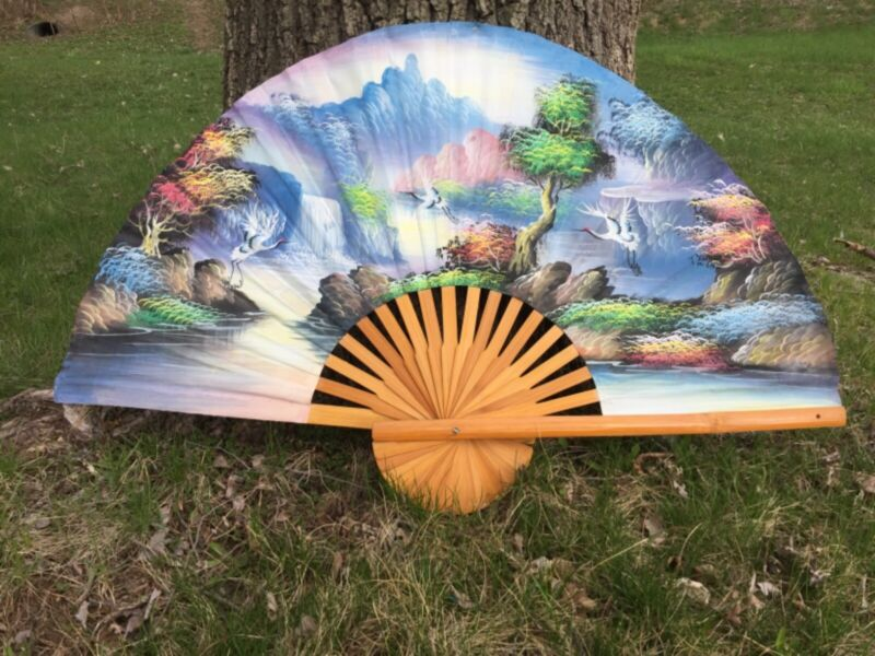 """Vintage Large Hand Painted Oriental Fan Bamboo Wall Art Cranes Storks 40""""x24"""""""
