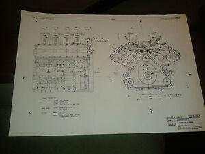 Copy of 3 original Ford Cosworth blueprints for DFV Formula 1 engine Lotus