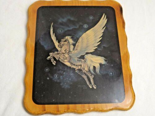 Sue Dawe 1986 Fantasy Art SPACE METAL PEGASUS Flying Horse Lacquered Wall Print