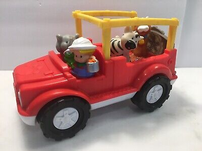 Fisher Price Little People Zoo Talkers Animal Sound Safari Jeep Truck RED +4