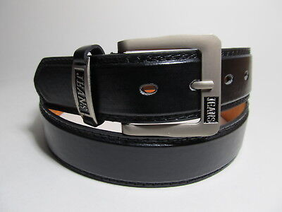 Men New Black Leather Belt with Brass Buckle M 34 - 36