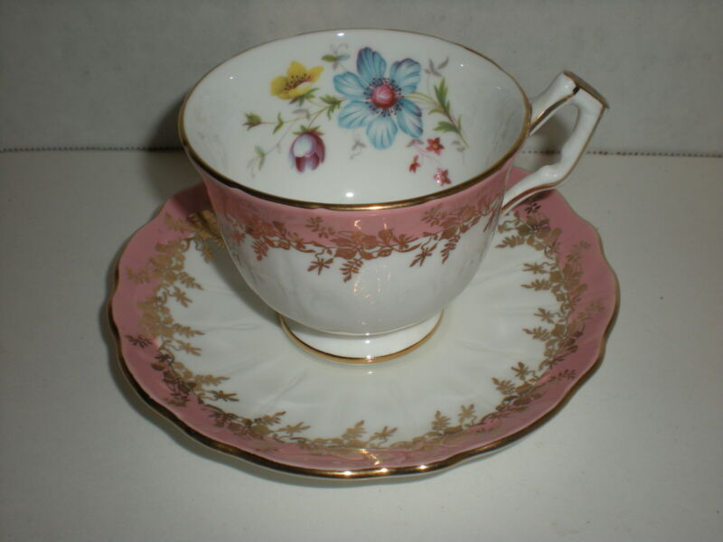 Rare Aynsley England Bone China Pink Gold Garland Footed Teacup and Saucer