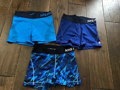 3 Pairs Of blue Nike Pro Shorts size small