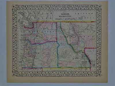 1870 Genuine Antique Map Oregon, Washington, Idaho, Montana. S A Mitchell Jr