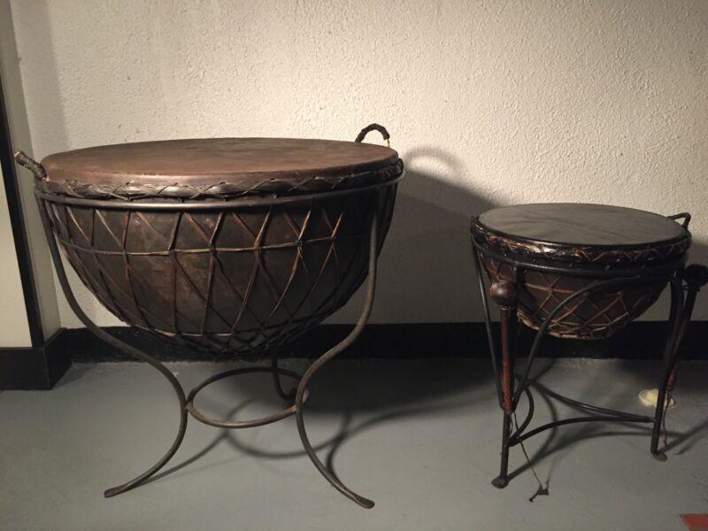 "Two Huge Kettle Drums W/Stands 30"" Diameter & 18"" Diameter."