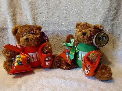 M&M's Orange & Green Plush Halloween Bears Holding Treat Bags With Light Up Eyes](Halloween M&m Treats)
