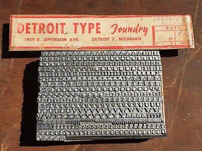 Vtg Detroit Type Foundry 12pt Engravers Bold Letterpress Print Type Alphabet Set