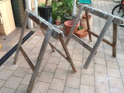 """Old Timber Folding Trestle Table """"A"""" Frame Bases Beckenham Gosnells Area Preview"""