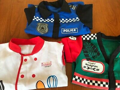 Lotto travestimento carnevale bimbo camicia da cuoco poliziotto meccanico 3-6 an