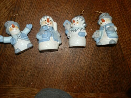 Ceramic Christmas Snowman  Figurines - Set of 4, Measure 3.5 inches High