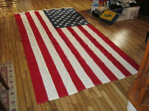 """Vintage 1962 American Flag 50 Stitched Stars """" New """" NOS 110 x 56 Inches """" Rare"""