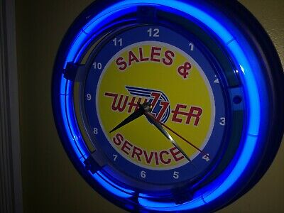Whizzer Motor Scooter Motorcycle Garage Man Cave Blue Neon Wall Clock Sign