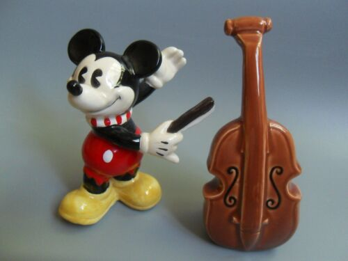 Mickey Mouse & Cello Salt and Pepper Shakers Disney Enesco