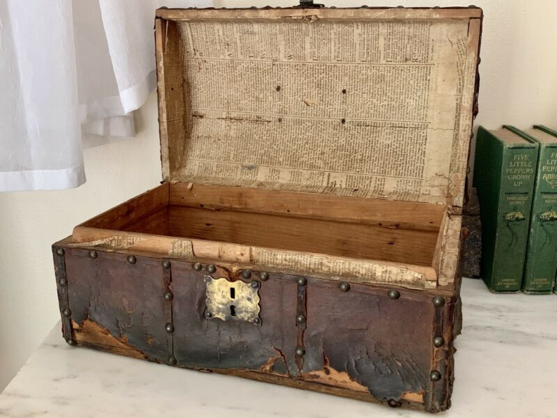 Antique 18th Century Dome Top Leather Wrapped Document Storage Chest w/ Key Date